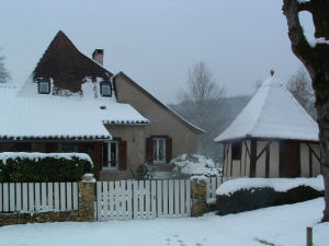 The Howards' house in the snow