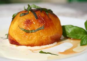 Roasted peach, basil & walnut oil