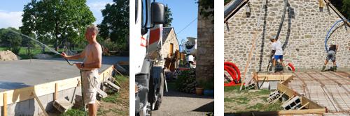 beton pouring, beton lorries, keeping it wet