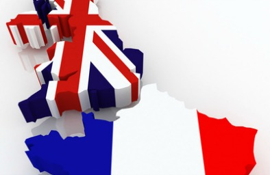 Map of Britain and France. 3d