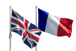 English and french flag