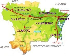 map showing the locations of the AOC wines in the Aude