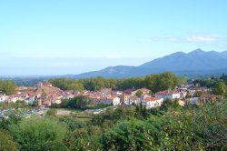 view of Ceret with Alberes mountains