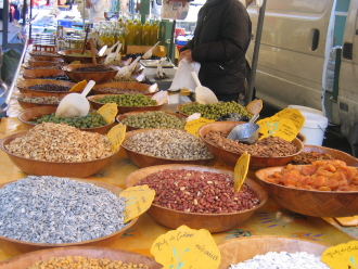 Market store, selling tapendade and olives in Provence, Languedoc, South of France