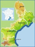 a map of Languedoc-Roussillon on the Mediterranean Coast