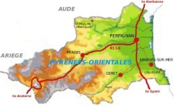 Map of the Pyrénées-Orientales