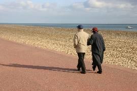 couple walking along beach